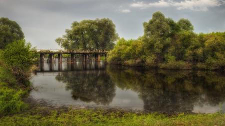 Фото река, мост, пейзаж