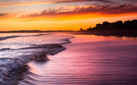 Обои море, волны, закат