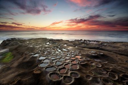 Фотографии море, закат, небо, камни