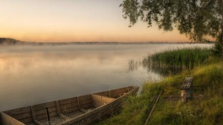 Фотографии река, лодка, закат, пейзаж