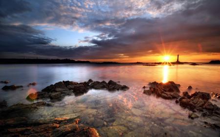 Фотографии море, закат, маяк, пейзаж