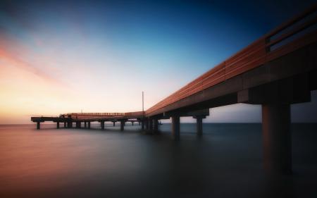Заставки море, мост, пейзаж, ночь