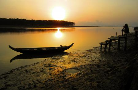 Картинки вечер, река, закат, лодка