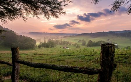 Фотографии закат, поле, забор, пейзаж