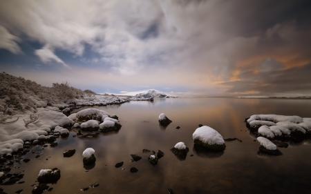Картинки море, небо, снег, природа