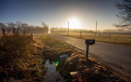 Картинки утро, дорога, туман, пейзаж
