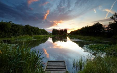 Картинки озеро, мост, закат, пейзаж