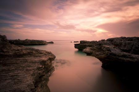 Фото океан, рассвет, скалы, пейзаж
