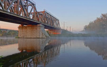 Фотографии река, мост, туман, пейзаж