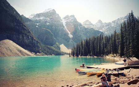 Заставки горы, озеро, лес, лодки