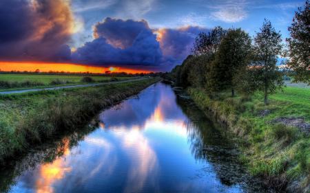 Картинки река, природа, дорога, закат