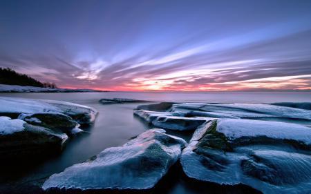 Обои небо, камни, зима
