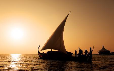 Фотографии лодка, парус, люди, закат