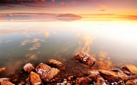 Фотографии море, закат, камни