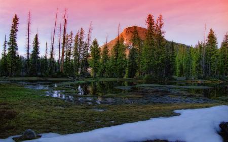 Фото озеро, гора, небо, снег