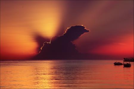 Фотографии закат, облако, море