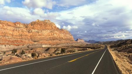 Фото дорога, вдаль, горы, кустарники