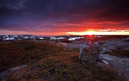 Обои пейзаж, холмы, горизонт, закат