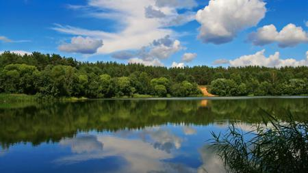Заставки Озеро, деревья, небо, облока