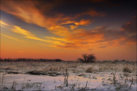Фото зима, снег, закат, вечер