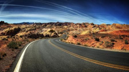 Картинки пустыня, дорога, горы, небо