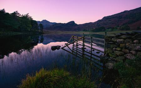 Обои закат, озеро, uk
