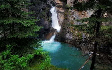 Фото водопад, озеро, скала, ель