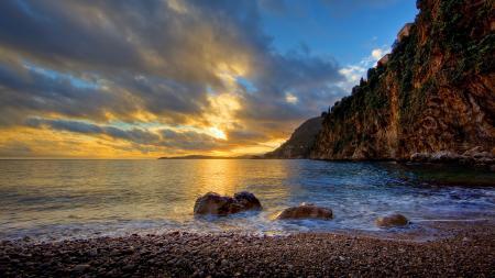 Заставки берег, море, скалы, закат