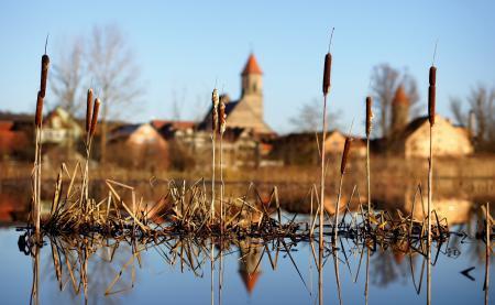 Картинки река, небо, город, отражение