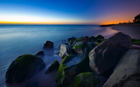 Обои океан, скалы, закат