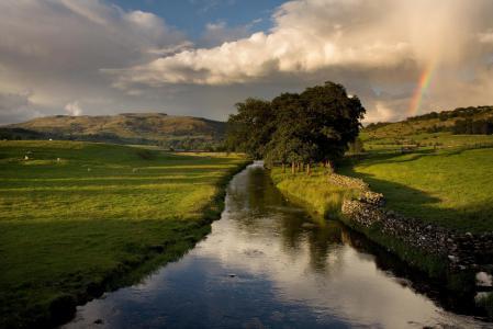 Обои природа, пейзаж, поля, река