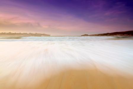 Заставки закат, пляж, берег, волны
