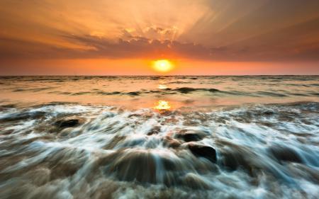 Фото море, закат, солнце, камни