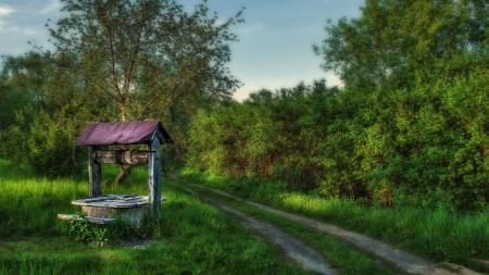 Картинки колодец, дорога, лето, пейзаж