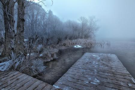 Картинки озеро, туман, мост, пейзаж