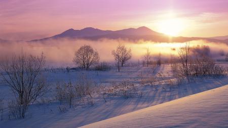 Фото зима, снег, горы, рассвет