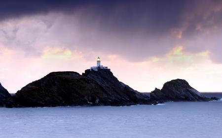 Заставки море, скалы, ночь, маяк