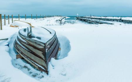 Заставки зима, снег, море, лодка