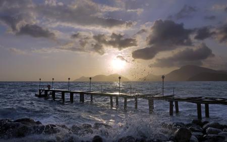 Заставки море, мост, пейзаж