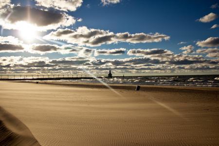 Обои море, пляж, мост, пейзаж