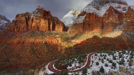 Картинки небо, закат, каньон, дорога