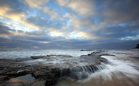 Заставки море, скалы, закат, пейзаж