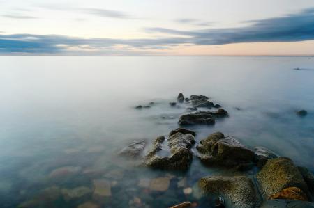 Картинки море, камни, штиль, горизонт