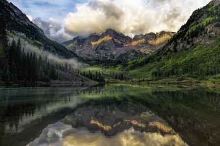 Заставки горы, озеро, отражение, лес