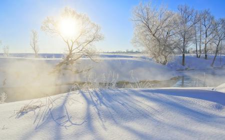Обои зима, река, утро, туман