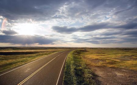 Фото дорога, разметка, изгиб, равнина