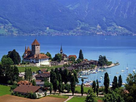 Фото озеро, шпиц, швейцария