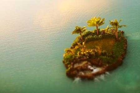 Заставки Остров, пальмы, вода, tilt-shift