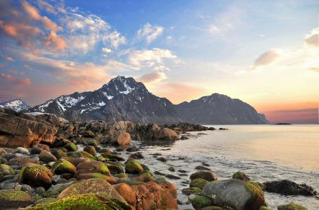 Фото горы, вода, камни, небо