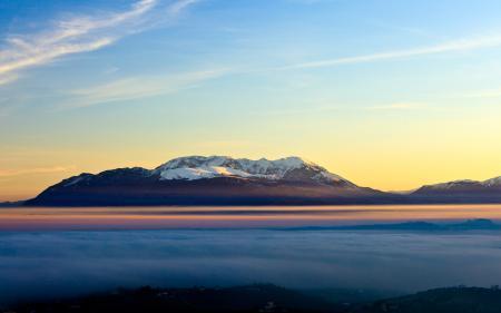 Фото гора, Небо, туман
